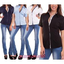 Camicia donna avvitata maglia fiori cotone maniche corte bottoni nuova Z-2238