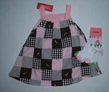 NWT Gymboree Tulip Garden 18-24 Gingham Patchwork Easter Dress & Turtle Socks