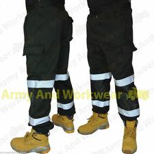 2 x Black Hi Viz Jogging Bottoms Combat Work Wear Thick Fleece Trouser Joggers