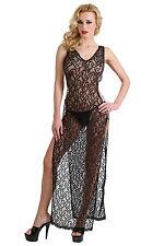 Picardías largo de encaje negro ranurada sexy glamour pin-up retro burlesco