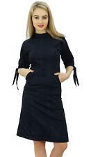 Bimba Women's Mock Neck Cotton Lycra Casual Black Shift Dress With Side Pocket