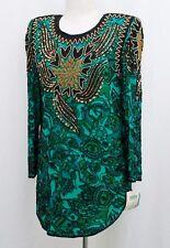 Jasdee Vintage Tunic Blouse Hand Work Bead & Sequins & Hand Print On Silk #6124