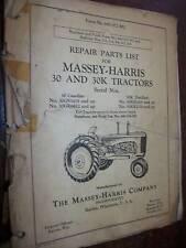 Massey Harris tracteur 30 & 30K : parts list 1950