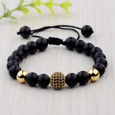 Luxury Hot Men Natural Black Lava Zircon Micro Pave CZ Beaded Macrame Bracelets