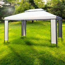 Gazebo da giardino 4 x 3 in ferro arredo esterno telo bianco design elegante