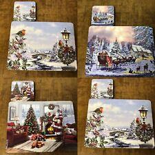 Placemats and Coasters Set Christmas Santa Robin Snowman Reindeer Dinner Mats