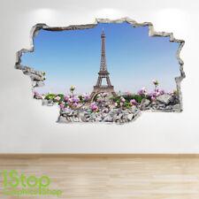 PARIS Pared Adhesivo 3D Look-Dormitorio Salón Torre Eiffel Ciudad de la etiqueta de la pared Z702