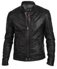 Men's Biker Hunt in Black Stylish Motorcycle Sheep Skin Leather Jacket