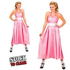 BOPPER DRESS 1950's Rock n Roll Fancy Dress Costume Pink White Polka Dot