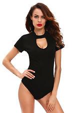 Body negro tela punto proveído de costillas elástica coupe original sexy glamour
