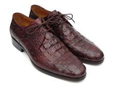 Paul Parkman Men's Brown & Bordeaux Crocodile Embossed Calfskin Derby Shoes (ID#