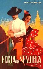 Década de 1960 Vintage español Sevilla Festival de Primavera A3 cartel reimpresión