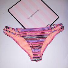 Victoria Secret Swim Suit Bikini Bottom Orange Metallic Stripe Strappy Cheeky
