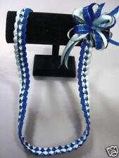 Hawaiian Braid Metalic Edge Ribbon Lei Light Blue
