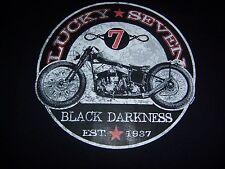 TEE SHIRT NOIR HOMME - BIKER - MOTO - HARLEY - LUCKY SEVEN - BLACK DARKNESS