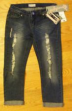 SoundGirl Destroyed Low Rise Capri Jeans Cotton Blend - CL421