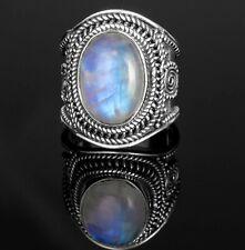 Big Moonstone 925 Sterling Silver Ladies Oval Gemstone Ring Jewellery Gift Box