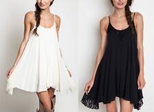 Umgee Bohemian Boho Lace Trim Asymmetrical Swing Dress