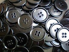 28mm 44L Gunmetal Gris Plata Metal 4 Botones Chaqueta industrial agujero (MB156) X