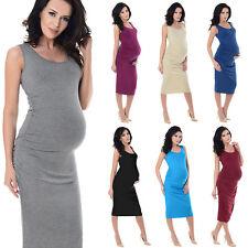 Purpless sans manches jersey froncé grossesse maternité midi robe robes 8130
