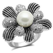 Ladies cocktail ring black white cz pearl silver statement rhodium detailed 294