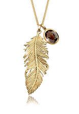 Feder Halskette vergoldet 925 Sterling Silber Quartz GOLDHIMMEL Damen Kette NEU