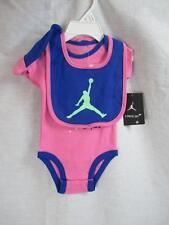 NWT Nike Jumpman Air Jordan Pink Blue Onesie with cap, bib 3 piece