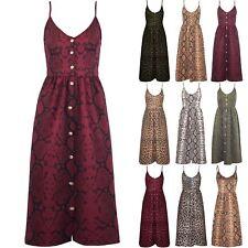 Womens Ladies Animal Prints Leopard Snake Front Button Strappy Skater Midi Dress