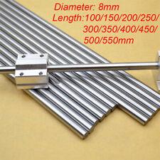 8mm Chromed Smooth Rod Steel Linear Rail Shaft 100~550mm For 3D Printer CNC New