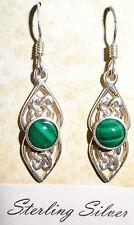 real sterling silver 925 drop stud earrings malachite green moss aventurine jade