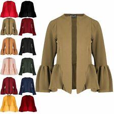 Womens Ruffle Peplum Frill Long Sleeve Ladies Open Front Coat Blazer Crop Jacket