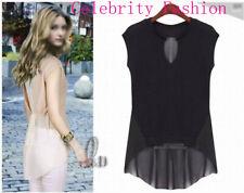 AU SELLER Women's Girl's Celeb Style Uneven Hem Slim Top Tee Blouse Shirt T119
