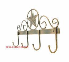 Star Key Holder 4 Hooks Hanger Tin Metal Coat Holder Rustic Brown Copper
