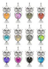 925 Silver Owl Pendant with SWAROVSKI 6228 Heart & 1122 Rivoli Crystal Color
