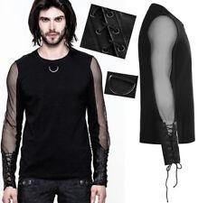 Haut t-shirt gothique punk résille gant cuir laçage anneau métal Punkrave Homme