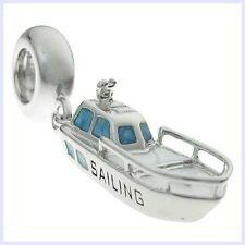 Sterling Silver Sailing Yacht Blue White Enamel Bead f/ European Charm Bracelet