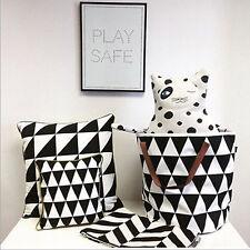 Large Home Canvas Tote Storage Bucket Toys Organizer Laundry Bag Black White