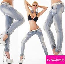 Jeans donna cintura elasticizzato ricamato&intagli smile&farfalle strass nuovo