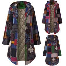 Women Hooded Long Sleeve Overcoat Vintage Fleece Thicken Jacket Button Coat AU
