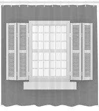 Antique Shower Curtain Wooden Window Shutter Print for Bathroom