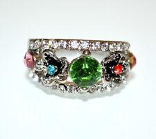ANELLO argento fedina donna strass cristalli verde rosa azzurro veretta A35