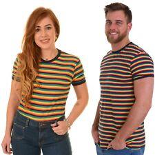 Run and Fly Rainbow Stripe Multi T Shirt Top Bright Colourful Retro 70s Gay Prid