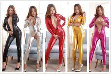 Sexy Women Wet Look Leather Zip Crotchless Catsuit Bodysuit Jumpsuit Party Club