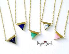 Triangle Gemstone Necklace pink stone pendant aquamarine marble stone necklace