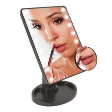 LED Espejo de aumento control de luz sensible al tacto con bandeja de maquillaje y 5 X Lupa