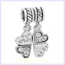 STR Silver Big Little Sister Love CZ Four Clover Bead f/ European Charm Bracelet