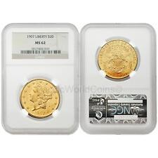 USA 1907 LIBERTY $20 Gold NGC MS62
