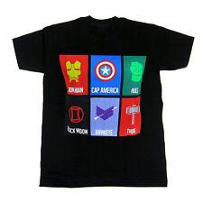 Marvel Avengers Icon Cards Mens Black T-Shirt