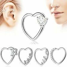 2x Zircon Heart Hoop Nose Ear Rings Helix Tragus Cartilage Earring Body Piercing