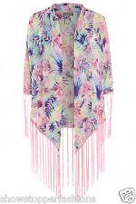 NUOVO donna kimono stampa floreale con frangia TAGLIA 10 12 14 16 Chiffon nappa